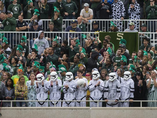 Michigan State students dress in Halloween costumes