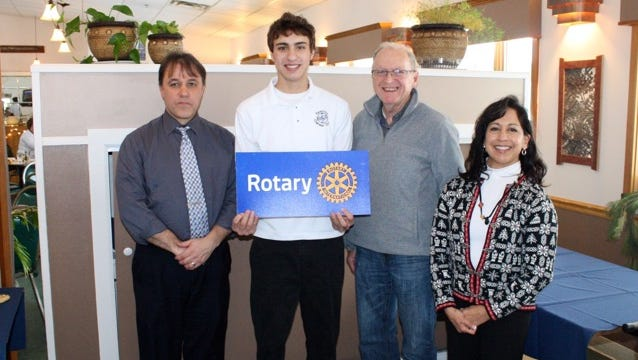 Damon Musso, a junior at Bath-Haverling Central School, will serve as Outbound Youth Ambassador in Italy later this year through Bath Rotary Club. From left are Joe Rumsey, Damon Musso, Dave Stewart and Benita Nesbitt.