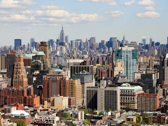 Aerial photo Shows downtown Brooklyn, foreground, and