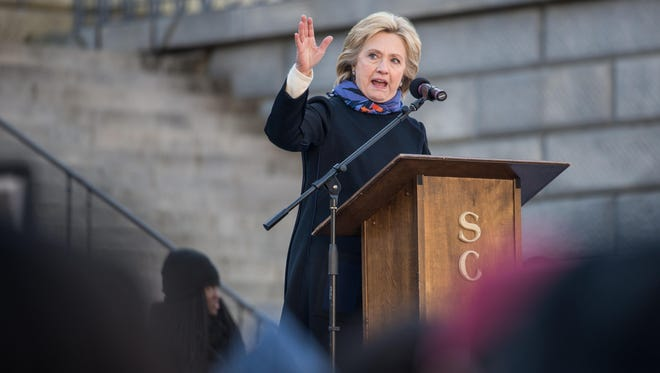 Democratic presidential candidate Hillary Clinton speaks Jan. 18, 2016, to the crowd during the King Day at the Dome rally at the State House in Columbia, S.C.