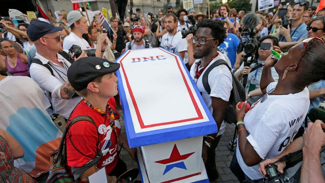 A coffin is carried at the Democratic National Convention in Philadelphia to symbolize the death of democracy.