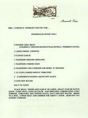 Original recipe card for Lady Bird Johnson's famous Pedernales River Chili.