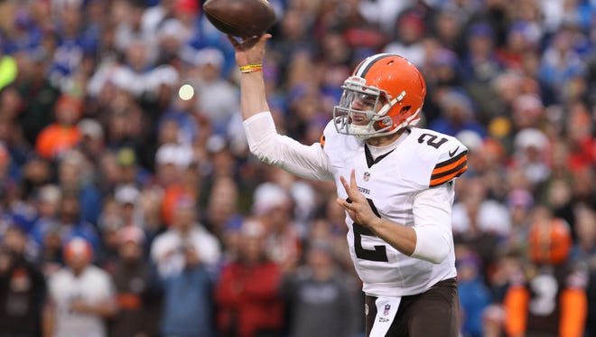 Cleveland Browns quarterback Johnny Manziel throws the ball during the second half against the Buffalo Bills at Ralph Wilson Stadium.