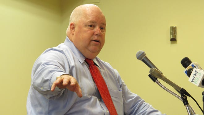 Agriculture Commissioner Mike Strain gives an update on Louisiana's agriculture industry to the Press Club of Baton Rouge, on Monday in Baton Rouge. Strain talked about the need to preserve farmland in the state, noting that agriculture is Louisiana's largest industry.