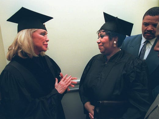 Joan Kennedy, left, chats with Aretha Franklin at the