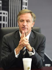 Gov. Bill Haslam talks to The Tennessean's editorial board Tuesday.