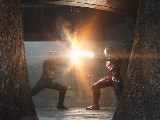 Captain America (Chris Evans) and Iron Man (Robert