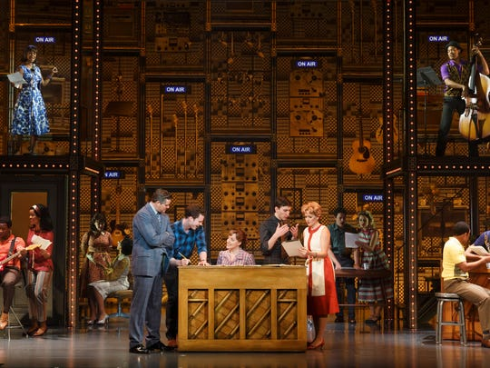 """Curt Bouril (Don Kirshner), Liam Tobin (Gerry Goffin), Abby Mueller (Carole King), Ben Fankhauser (Barry Mann), Becky Gulsvig (Cynthia Weil) and the company of """"Beautiful."""""""