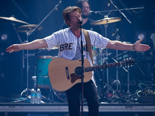 Brandon Lay performs Saturday at Miller Park in Milwaukee.