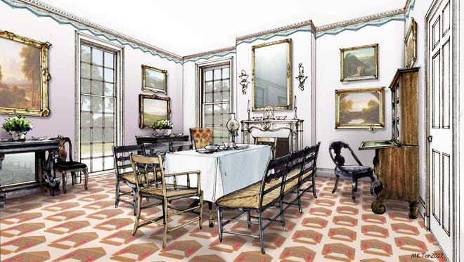 Artist's rendering of the West Parlor by MK. Tan.