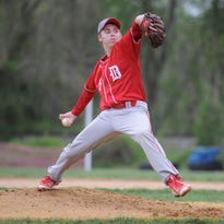 Designated hitter Keelan Borguet hits a double in the second inning of Delsea's 4-1 win over Glassboro on Wednesday.