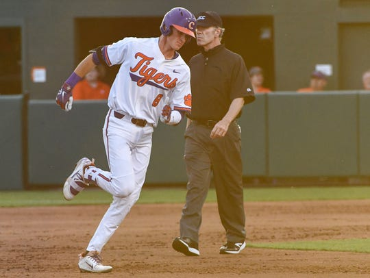 Clemson sophomore Logan Davidson (8) hit a two-run