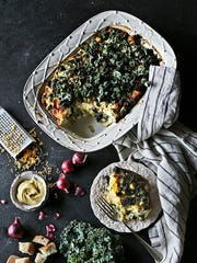 "Kale and Cheddar Strata, made with challah, from ""Rising!"