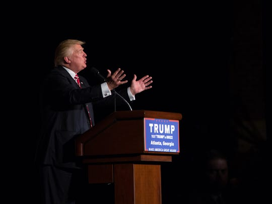 Donald Trump speaks during a campaign rally on June 15, 2016, in Atlanta.
