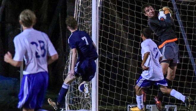 Martin County faced St. Lucie West Centennial Wednesday, Nov. 15, 2017, during their high school boys soccer match at Martin County High School.