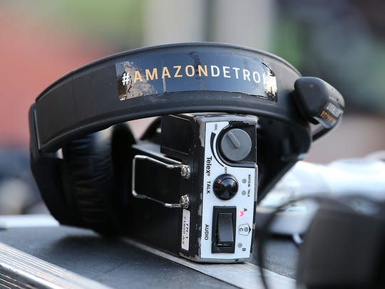 Stickers promoting the Amazon move to Detroit are seen on the equipment of the Michigan State Spartans coaching staff before the game against the Michigan Wolverines at Michigan Stadium on Oct. 7, 2017, in Ann Arbor.