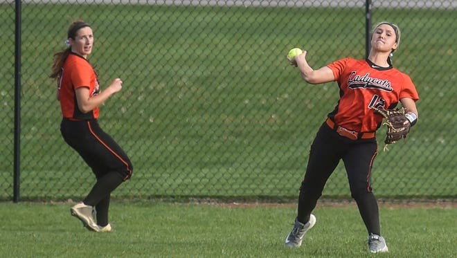 North Union freshman Kori Marvin throws in the ball from right field as Abby Davis backs her up on the play earlier this year at River Valley. The Wildcats shared the MOAC Red Division softball title with the Vikings this season