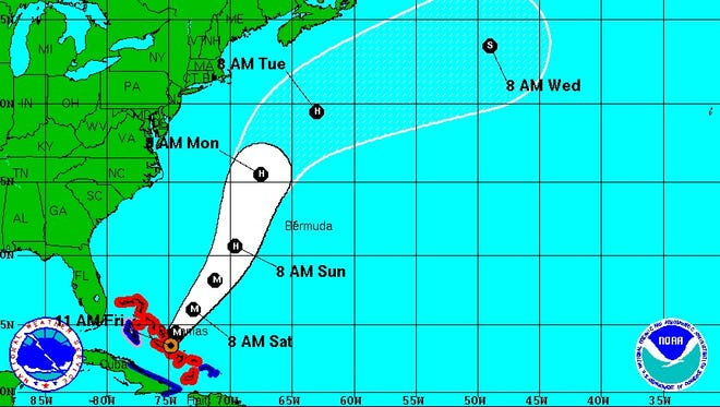 The latest projected path of Hurricane Joaquin from the National Weather Service.