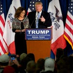 Sarah Palin, left, endorses  Donald Trump during a rally at Iowa State University on Jan. 19, 2016, in Ames, Iowa.