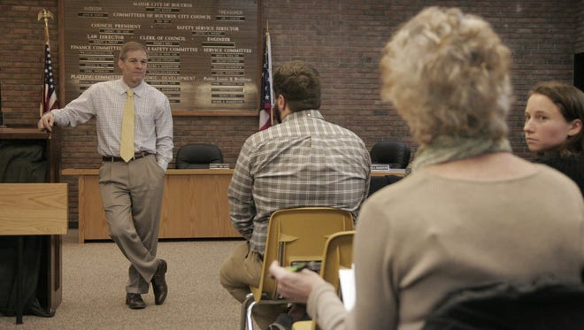 Fourth District Congressman Jim Jordan takes questions about healthcare Monday at Bucyrus City Hall.