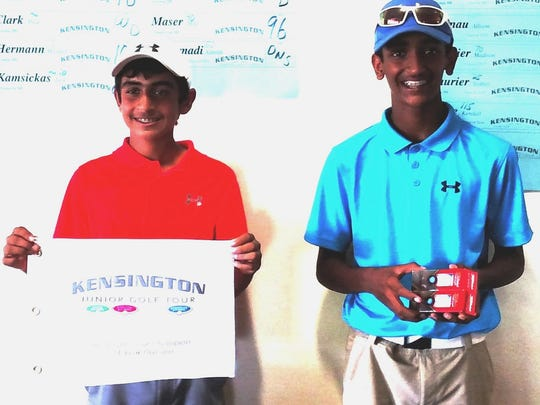 Novi's Dhruv Kumar (left) won the was the Kensington Tour Wayne County Division champ, while Ypsilanti's Vimal Alokam won the Fellows Creek event in a playoff.
