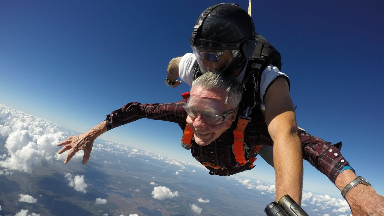 Ivan Briggs of Titusville skydives for his 90th birthday over Kennedy Space Center.