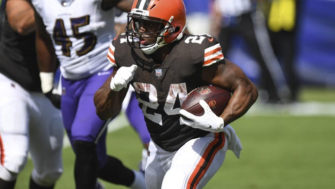 Cleveland Browns running back Nick Chubb, shown against the Ravens, rushed for 124 yards and two touchdowns in Week 2 against the Cincinnati Bengals.