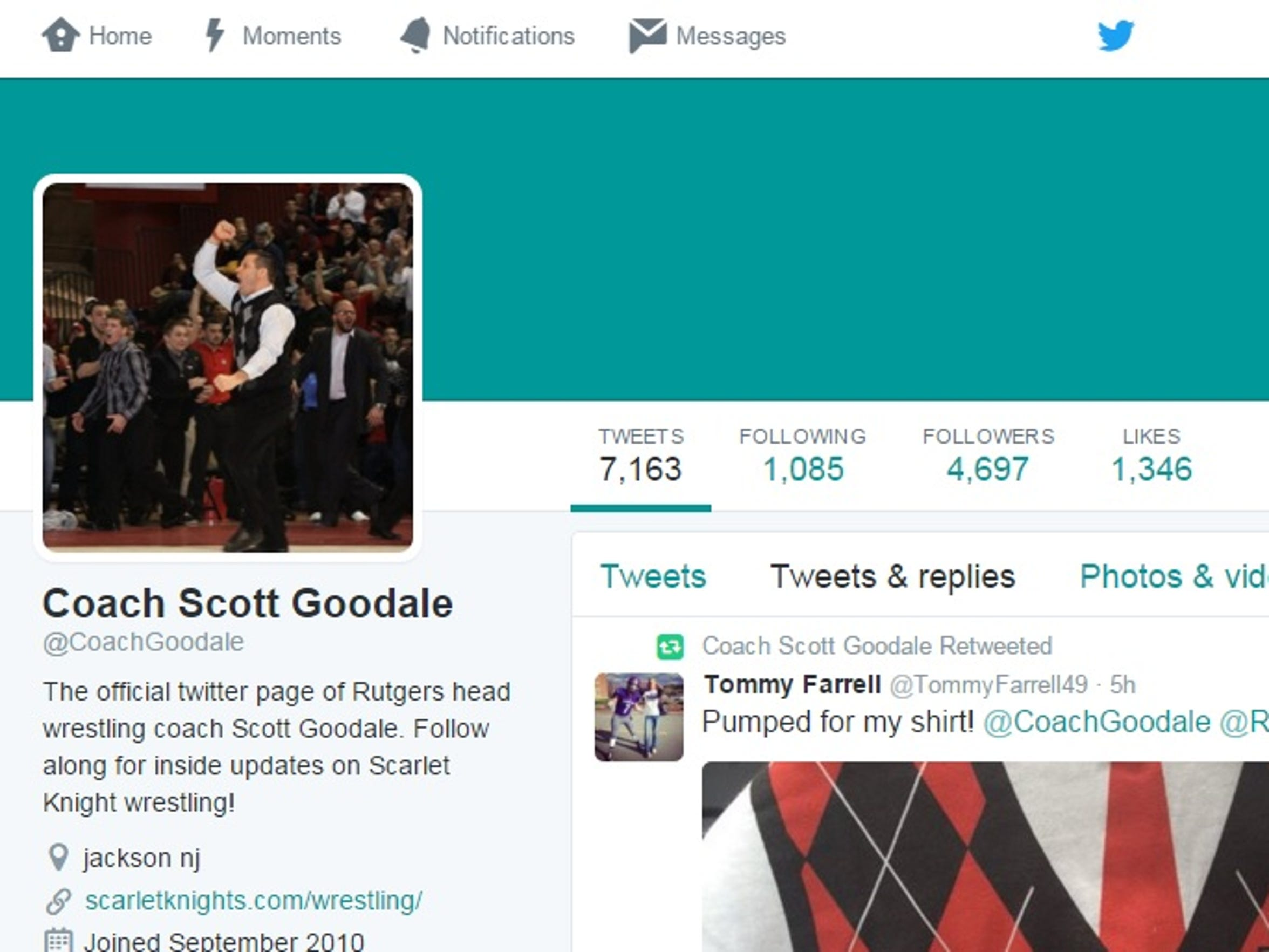 Rutgers coach Scott Goodale's profile photo on Twitter depicts a special memory.
