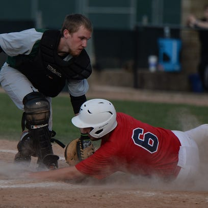 Seton Catholic's Cliff Dickman rounds third base and heads for home Thursday at McBride Stadium.