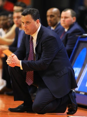 Mar 15, 2018; Boise, ID, USA; Arizona Wildcats head coach Sean Miller looks on in the first half against the Buffalo Bulls during the first round of the 2018 NCAA Tournament at Taco Bell Arena. Mandatory Credit: Brian Losness-USA TODAY Sports