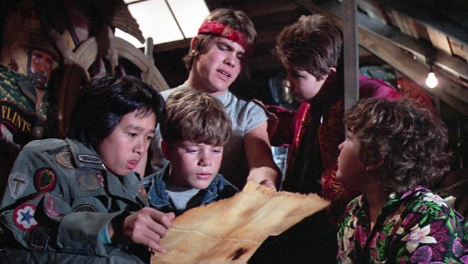"A scene from the 1985 film ""The Goonies."" From left are Ke Huy Quan, Sean Astin, Josh Brolin, Corey Feldman and Jeff Cohen."