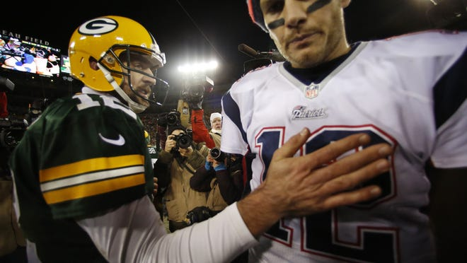 Packers quarterback Aaron Rodgers and fellow future Hall of Famer Tom Brady will meet Sunday, with Brady this time a member of the Tampa Bay Buccaneers.