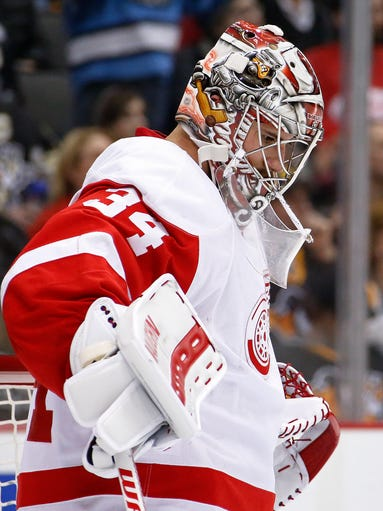 Detroit Red Wings goalie Petr Mrazek, who was pulled