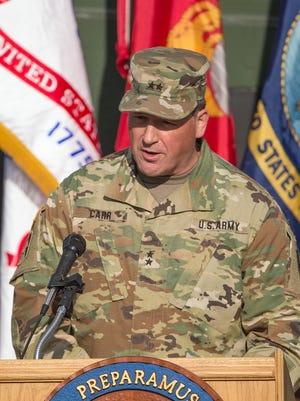 Maj. Gen. Courtney Carr speaks during a Veterans Day ceremony at Camp Atterbury, Edinburgh, Ind., Friday, November 11, 2016.