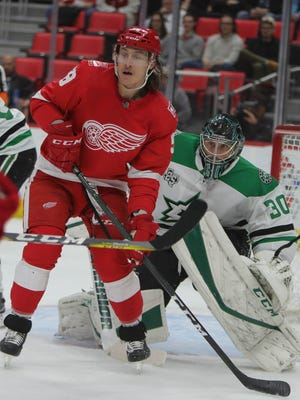 Red Wings right wing Anthony Mantha looks to shoot against Stars goalie Ben Bishop during the first period on Tuesday, Jan. 16, 2018, at Little Caesars Arena.