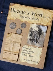 This family keepsake records the first sale of Haegle's Western Wear and Tack in 1910.