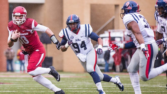 Ole Miss defensive lineman Issac Gross (94) won't use time of possession as an excuse for the Rebels' defensive performance.