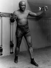Boxer Jack Johnson is shown working out in New York