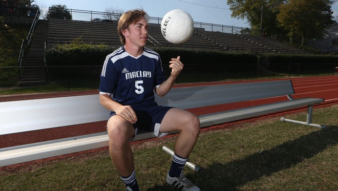 Maclay senior defender Lucas Briggs is the 2016-17 All-Big Bend Player of the Year for boys soccer after recording 14 goals and five assists from his center back spot during the Marauders' run to a 1A state title.