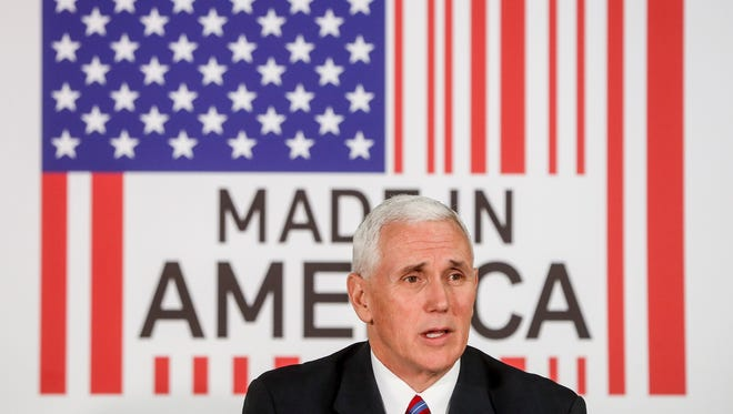 Vice President Pence speaks during a listening session with small-business owners at the Frame USA facility on March 2, 2017, in Springdale, Ohio.