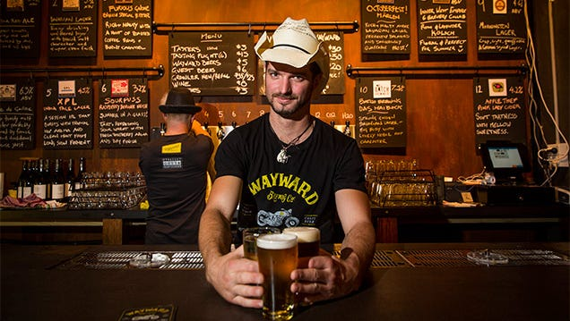 Several brews are on tap each night, and poured by servers in cowboy hats, at Wayward in Sydney.
