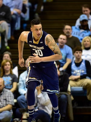 Notre Dame Fighting Irish forward Zach Auguste (30) on the court in the second half. The Fighting Irish defeated the Tar Heels 71-70 at Dean E. Smith Center, Jan. 5, 2015.
