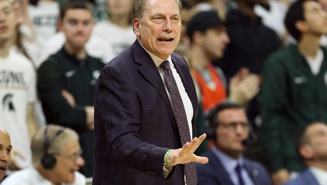 Jan 19, 2018; East Lansing, MI, USA; Michigan State Spartans head coach Tom Izzo reacts during the first half of a game against the Indiana Hoosiers at Jack Breslin Student Events Center. Mandatory Credit: Mike Carter-USA TODAY Sports