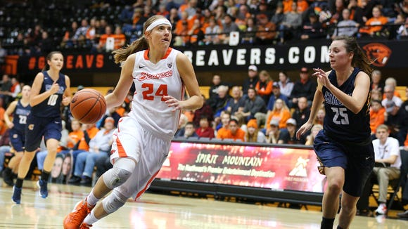 Oregon State junior guard Sydney Wiese (24) was selected all-Pac-12 for the third year in a row.
