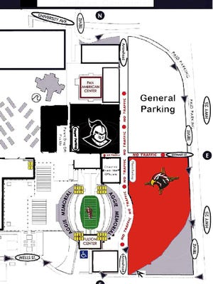 Parking map for Thursday's Oñate vs. Centennial football game at Aggie Memorial Stadium.