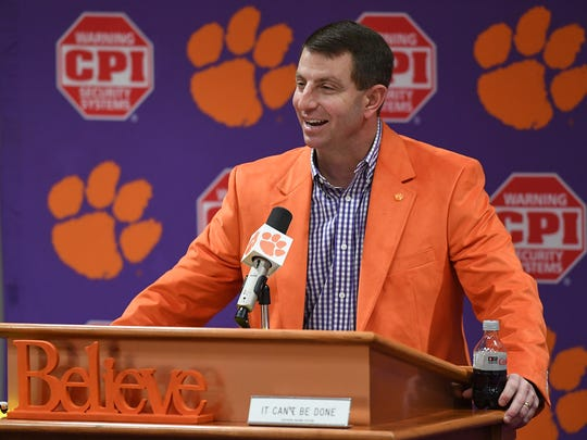 Clemson head coach Dabo Swinney talks with the media about the 2017-18 football signees during a press conference in Clemson on Wednesday, February 7, 2018.