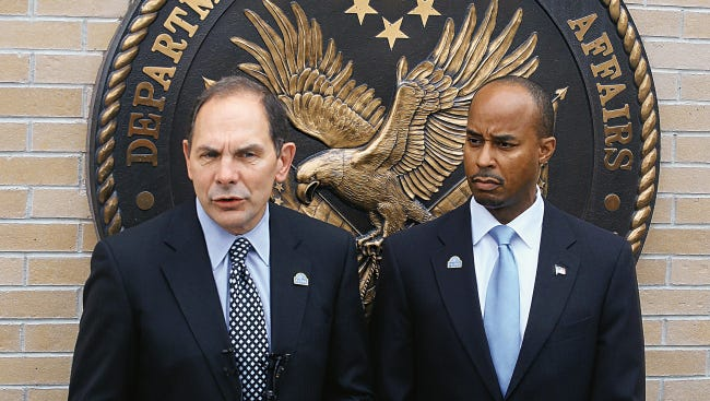 Robert A. McDonald, left, is the secretary of the Department of Veterans Affairs