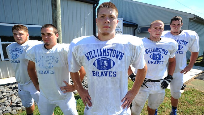 Williamstown's veteran offensive line, from left, Nick Adinolfi, Jake Chamberlin, Bill McGrath, Dylan Daisey and Mark Wolfe will be relied on for the Braves to find success in 2016.