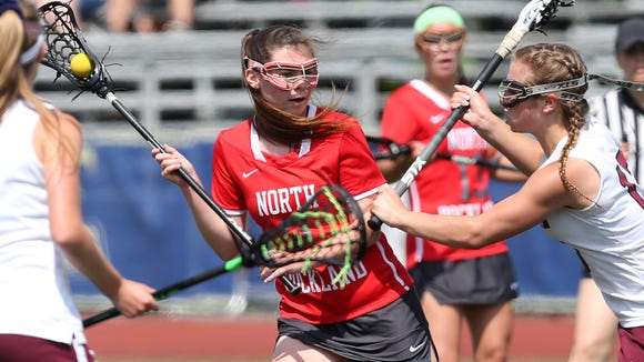 North Rockland's Elizabeth Fox (2) drives to the goal