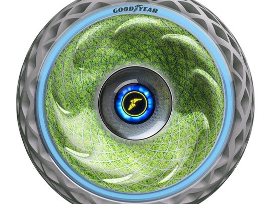 The Goodyear Oxygene tire uses living moss inside its sidewall to release oxygen and absorb carbon.